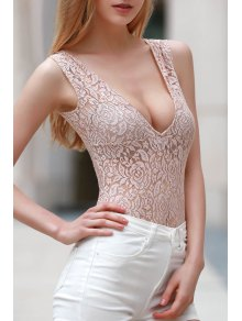 Lace Cut Out Plunging Neck Short Sleeve Romper - Yellowish Pink