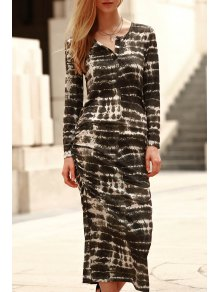 Abstract Print Long Sleeve Bodycon Dress - Green L