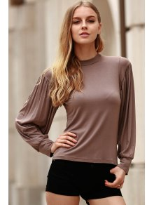 Khaki Stand Neck Long Sleeve T-Shirt