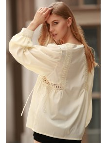 White Lace Up Jewel Neck Long Sleeve Blouse - Limeade Xl