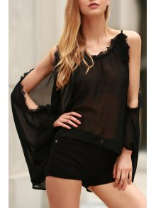 Eyelash Lace Spliced Draped Blouse