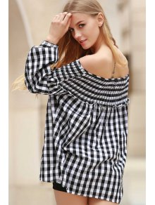 Plaid Pleated Scoop Neck Long Sleeve Blouse - White And Black S