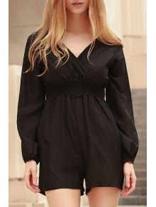Solid Color Plunging Neck Long Sleeves Romper