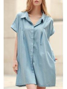 Loose Retro Turn-Down Collar Short Sleeve Dress - Light Blue