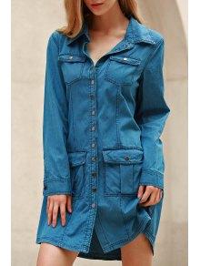 الأزرق الدينيم اخفض الرقبة فستان طويل الأكمام - أزرق M