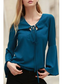 Solid Color Plunging Neck Long Flare Sleeve Blouse