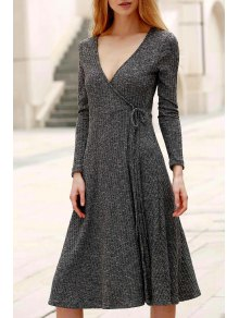 Low Cut Long Sleeve Midi Dress