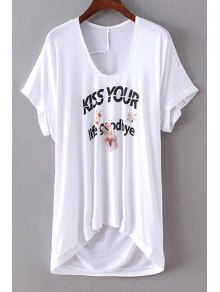 Letter Print U Neck Short Sleeve T-Shirt