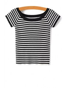 Slash Neck Striped Knit T-Shirt - Black S