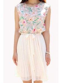 Floral Spliced Sleeveless Pleated Dress