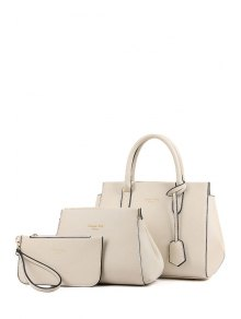 Letter Print Solid Color Tote Bag