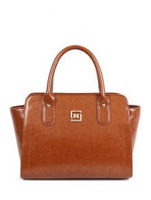 Buy Metallic Letter Solid Color Tote Bag - BROWN