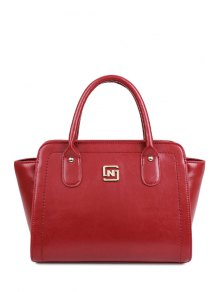 Buy Metallic Letter Solid Color Tote Bag - RED