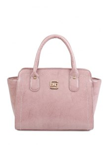 Buy Metallic Letter Solid Color Tote Bag - PINK