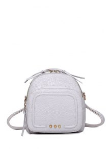 Buy Rivet PU Leather Solid Color Satchel - WHITE