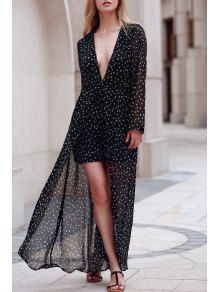 Plunging Neck Polka Stars Layered Romper