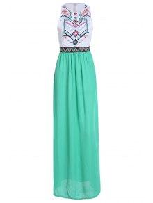 Geometric Print Splicing Sleeveless Maxi Dress - White