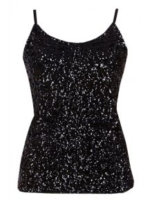 Sequin Solid Color Spaghetti Straps Tank Top