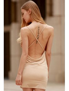 Women Spaghetti Strap Backless Club Dress - Khaki Xl