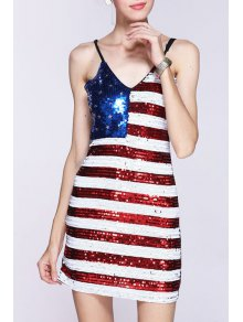 Sequined Color Block Spaghetti Straps Sleeveless Dress