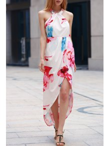 Irregular Hem Flower Print Dress