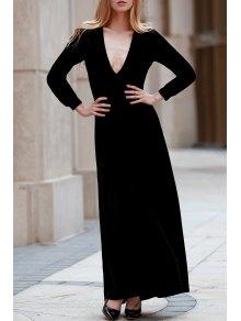 Black Velvet Plunging Neck Long Sleeve Dress - Black 2xl