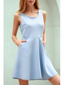 Light Blue Hollow Scoop Neck Sleeveless Sundress