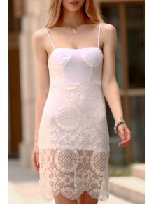Lace Slip Bodycon Dress - White M
