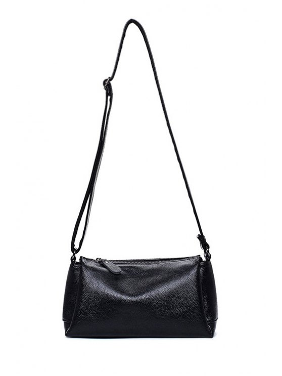 affordable Solid Color PU Leather Zip Crossbody Bag - BLACK