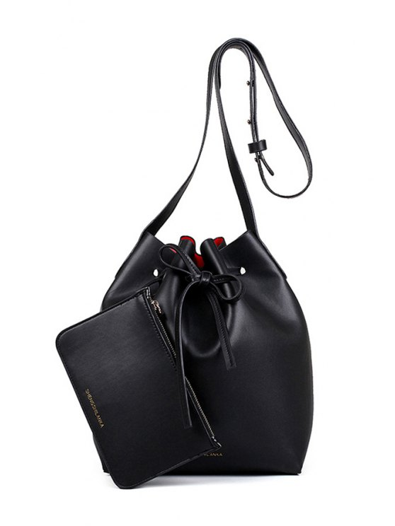 sale Letter Print String Solid Color Crossbody Bag - BLACK