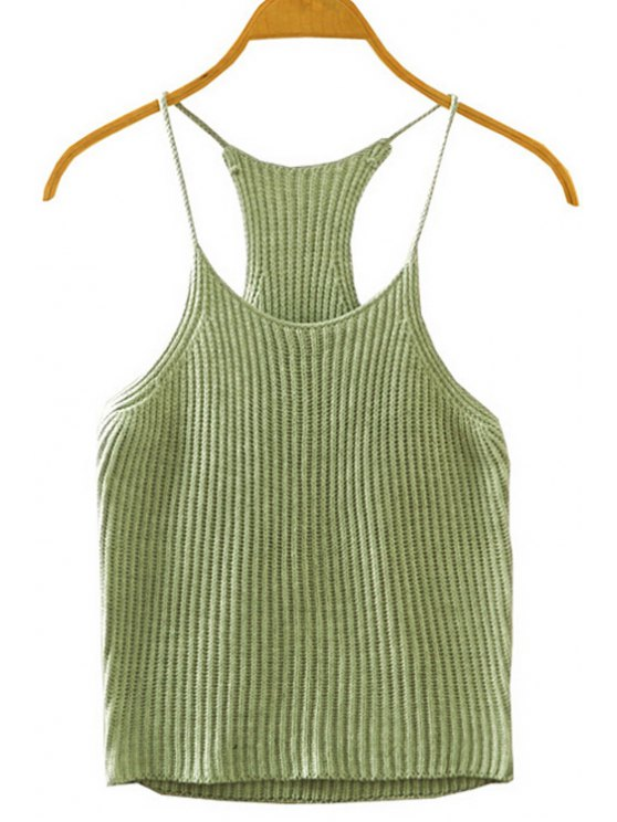sale Crocheted Spaghetti Straps Tank Top - ARMY GREEN ONE SIZE(FIT SIZE XS TO M)