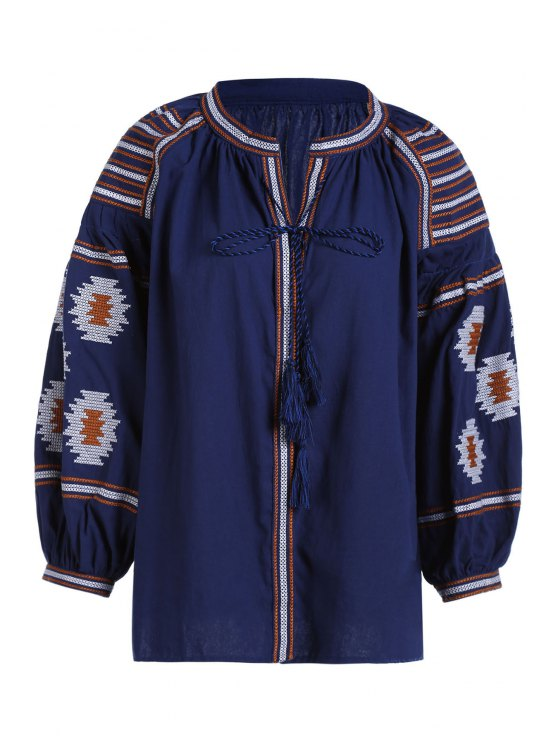 sale Ethnic Embroidery V Neck Long Sleeves Blouse - CADETBLUE ONE SIZE(FIT SIZE XS TO M)