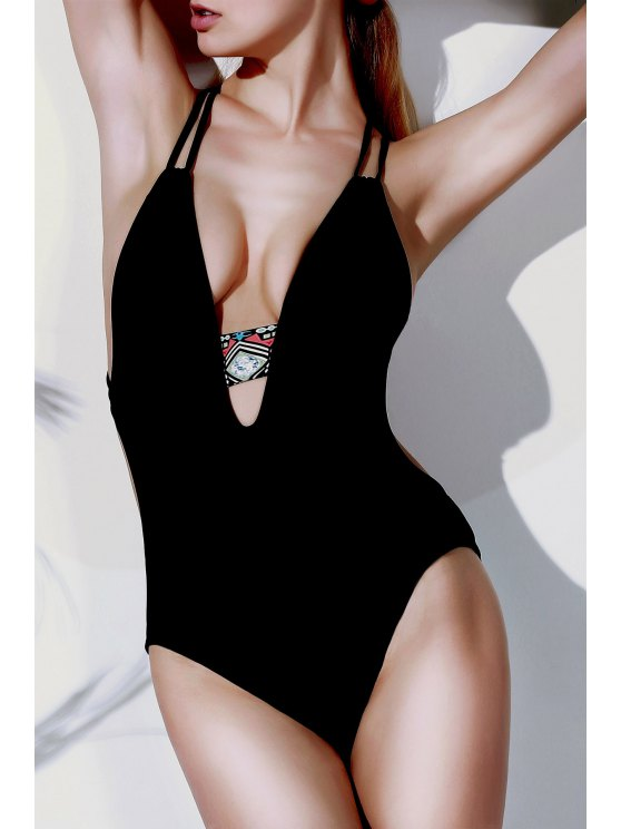 Printed Halter Cut Out One Piece Swimwear - BLACK M Mobile