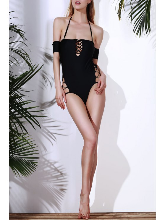 Solid Color Lace Up One Piece Swimwear - BLACK S Mobile