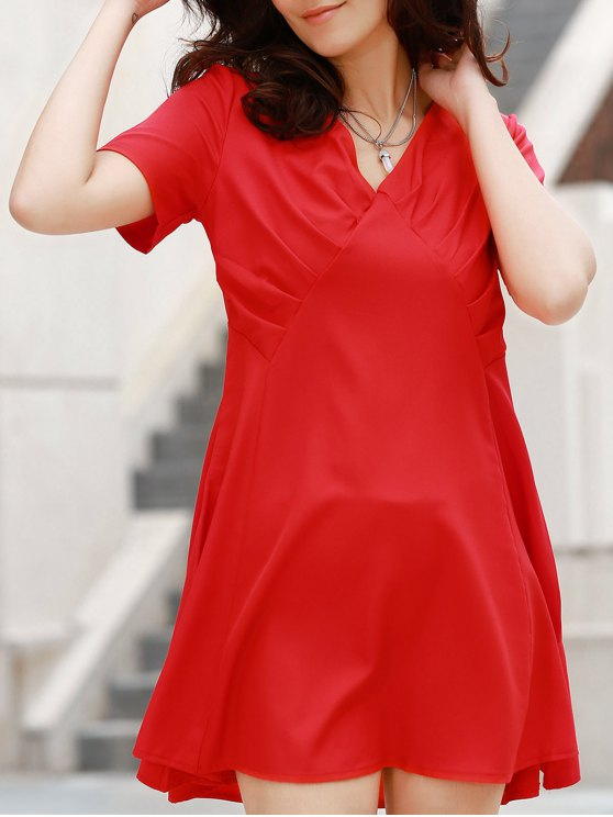 ladies V-Neck Solid Color Swing Dress - RED M