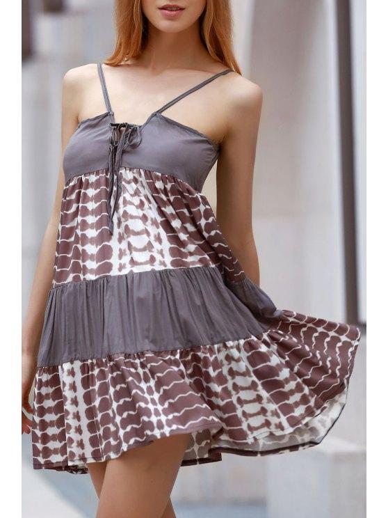 shops Printed Spaghetti Straps Lace Up Dress - COLORMIX L