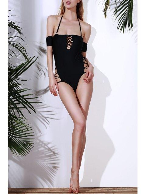 unique Solid Color Lace Up One Piece Swimwear - BLACK S Mobile