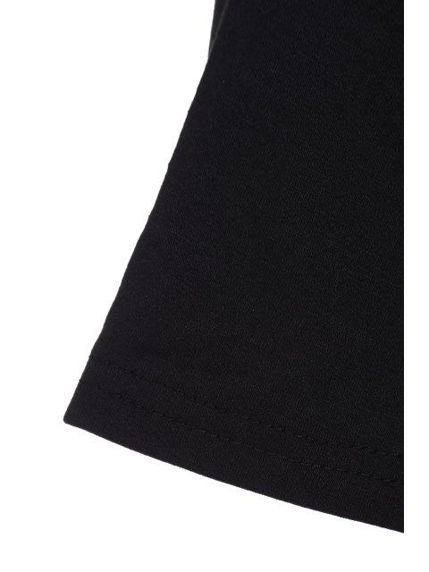 lady Black Zipper Plunging Neck Short Sleeve Bodysuit - BLACK S Mobile