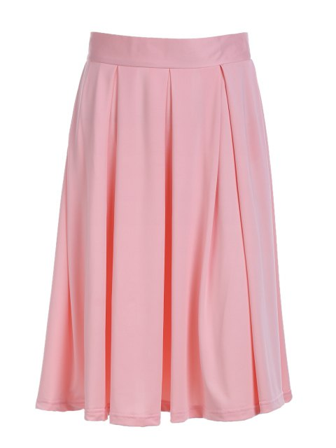 ladies A-Line Solid Color Midi Skirt - PINK M Mobile