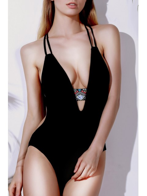 buy Printed Halter Cut Out One Piece Swimwear - BLACK S Mobile