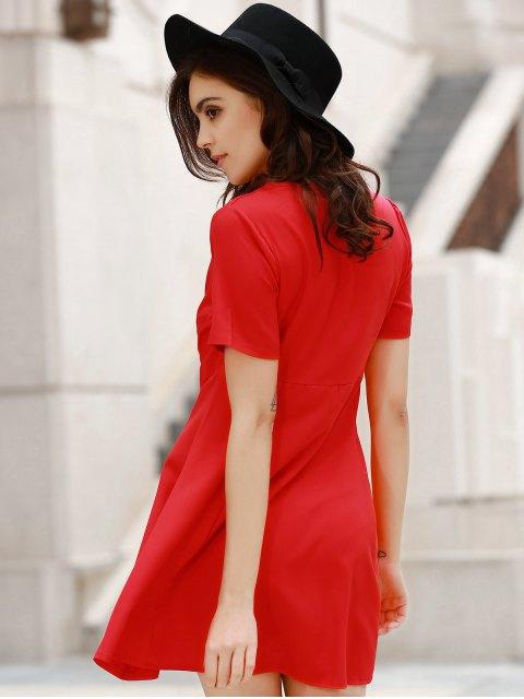 ladies V-Neck Solid Color Swing Dress - RED M Mobile