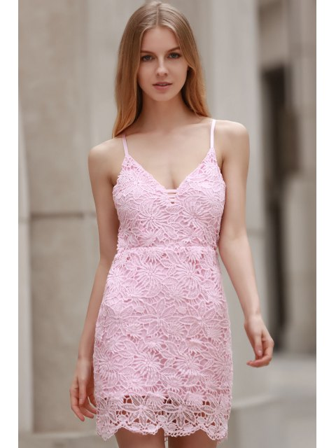 buy Backless Spaghetti Strap Solid Color Lace Dress - PINK XL Mobile
