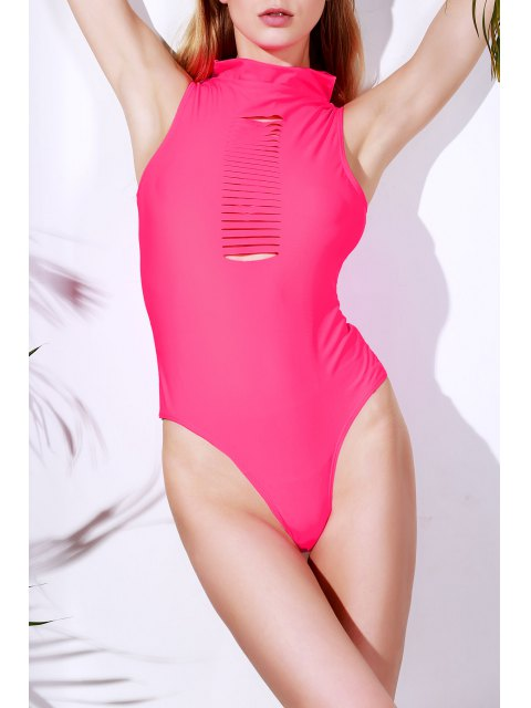 new Solid Color Cut Out Turtle Neck One-Piece Swimwear - ROSE L Mobile