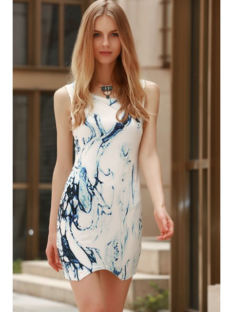 online Digital Print Jewel Neck Sleeveless Dress - BLUE AND WHITE M Mobile