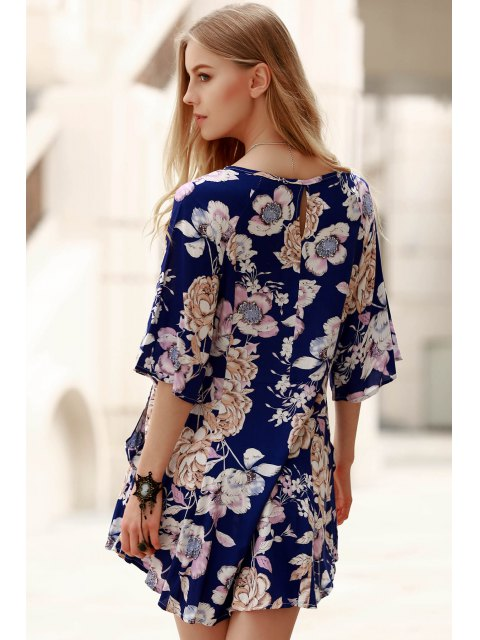 outfits Printed V-Neck 3/4 Sleeve Blouse - BLUE L Mobile