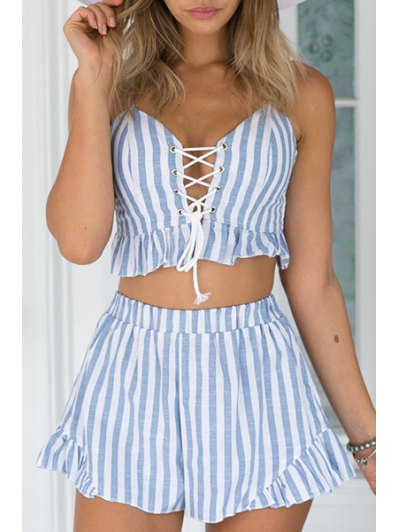 Cami Striped Crop Top and Wide Leg Shorts Suit