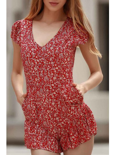 Tiny Floral Print V Neck Cap Sleeve Playsuit - Red M