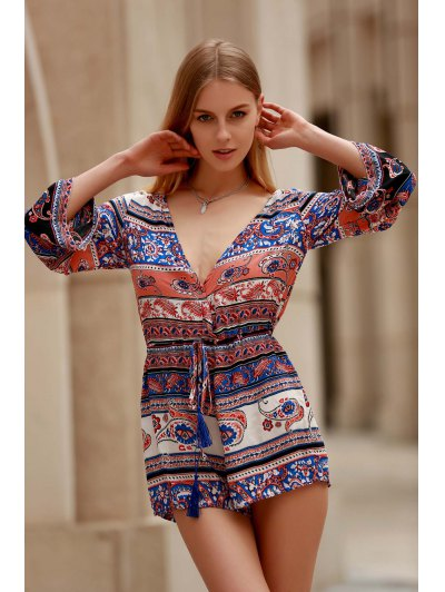 Ethnic Print Plunging Neck Long Sleeve Playsuit - COLORMIX M Mobile