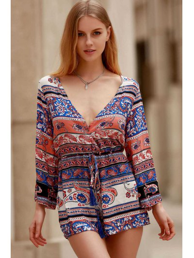 Ethnic Print Plunging Neck Long Sleeve Playsuit - COLORMIX XL Mobile