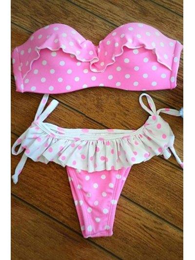 Flounce Ruffles Polka Dot Strapless Bikini Set
